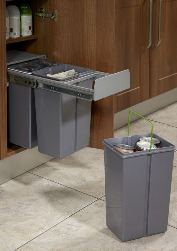 Pull Out Waste Bin Base Mounted 30 Litre Capacity For Minimum 300mm Wide Cabinet Ecf Bin11