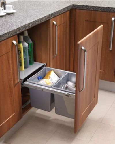 Pull Out Waste Bin Base Mounted 30 Litre Capacity For Minimum 450mm Wide Cabinet Ecf Bin18