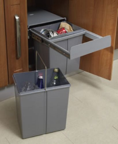 Pull Out Waste Bin Base Mounted 40 Litre Capacity For