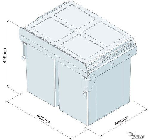Pull out waste bin side mounted 68 litre capacity for for Kitchen cabinets 500mm wide