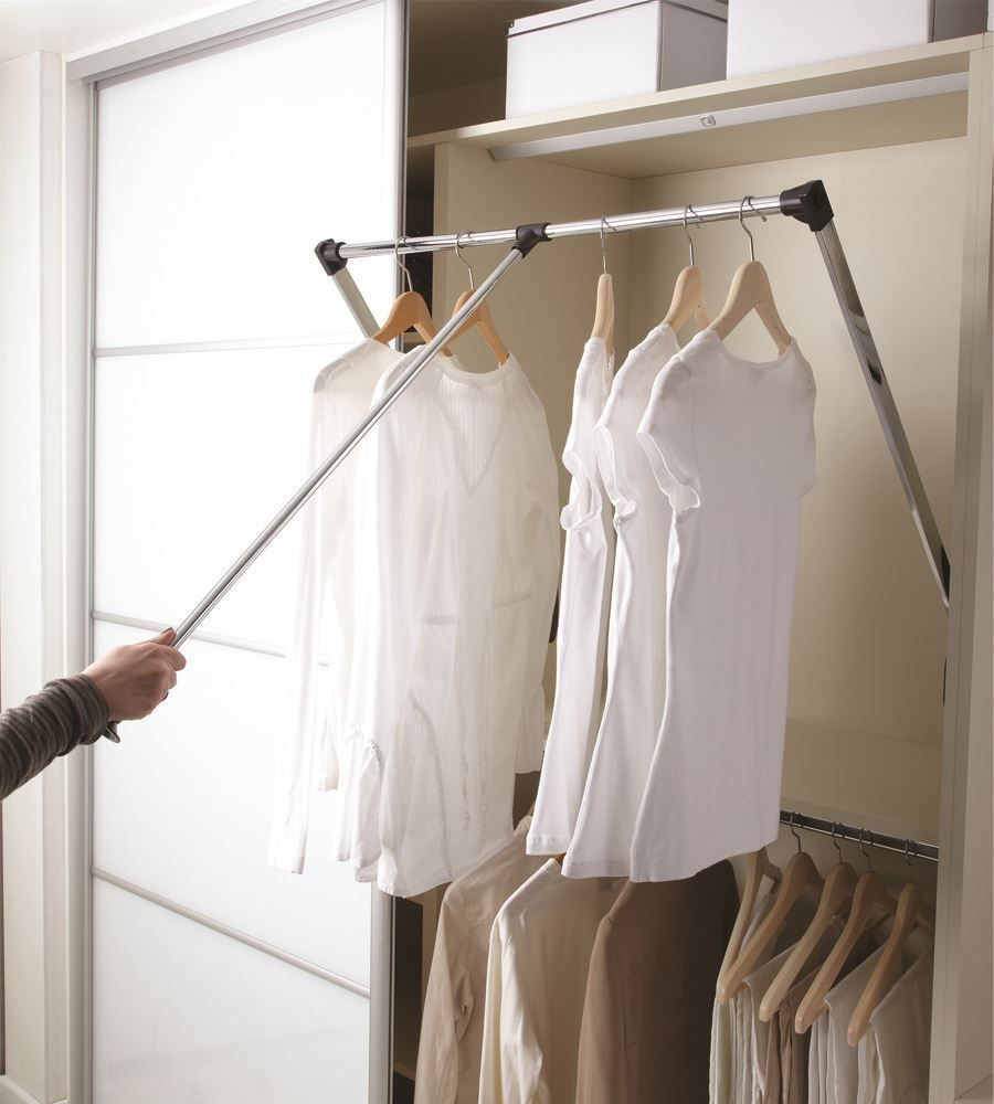 Pull Down Wardrobe Hanging Rail In 2 Extendable Sizes Ecf